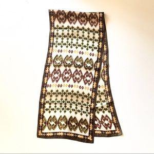 Adrienne Vitadini Briwn and Green Ikat Silk Scarf